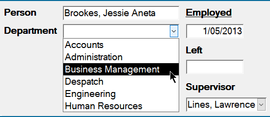 MS Access combo box screenshot.